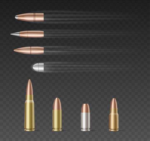 透明な背景上の異なる口径の弾丸のセット