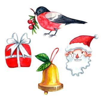 ウソ、サンタクロース、黄金の鐘と赤いクリスマスプレゼントのセット