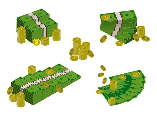 뭉치 세트는 평평한 스타일의 달러 또는 다른 스타일 또는 금융 통화의 동전 달러