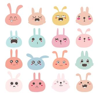 Набор смайликов лица кролика, милый дизайн персонажей кролика.
