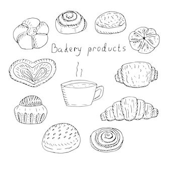 Набор булочек и кофе, векторные иллюстрации, ручной рисунок
