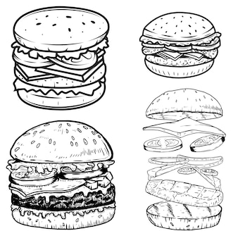햄버거 일러스트의 집합입니다. 포스터, 메뉴, 레이블, 배지, 기호에 대 한 요소. 삽화