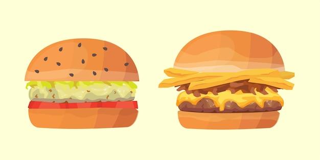 ハンバーガーイラストのセット