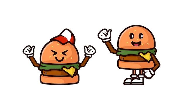 ハンバーガーマスコットロゴデザインイラストのセット