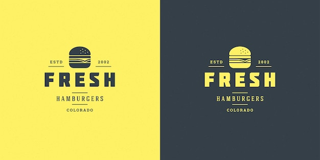 バーガーやレストランのロゴのセット