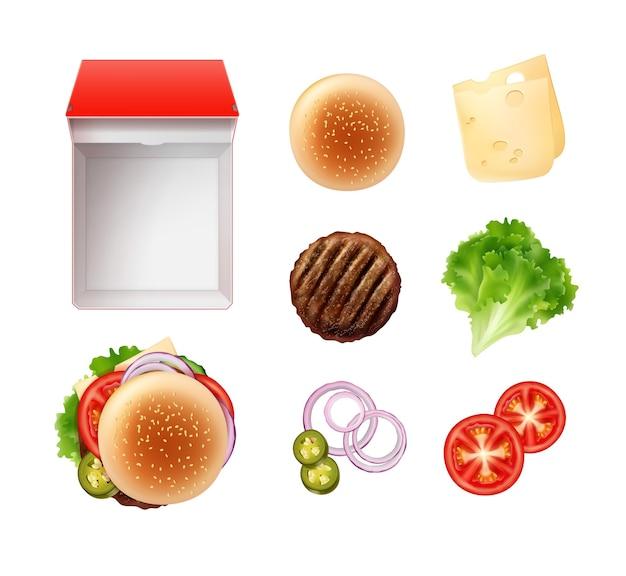 롤빵과 햄버거 재료로 햄버거 세트