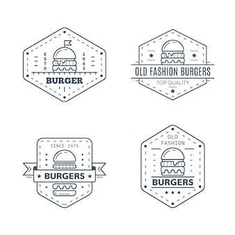 白い背景で隔離のハンバーガーバッジデザインのセット