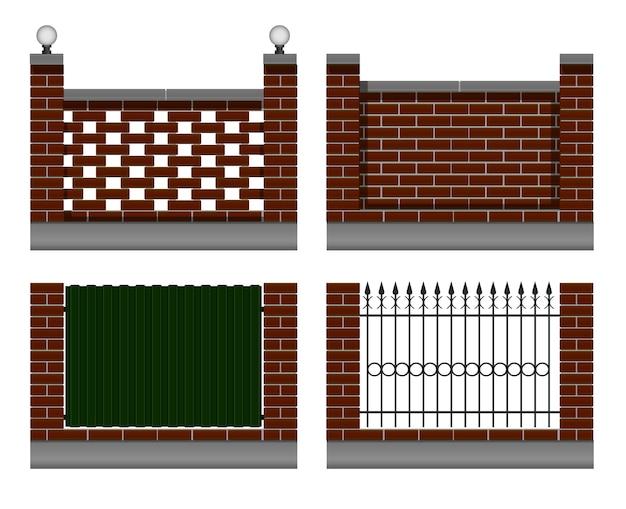 バーガンディのレンガの壁のセット。鍛造金属フェンス、鉄板グリーン色、街路灯付き。庭やコテージの民家用。