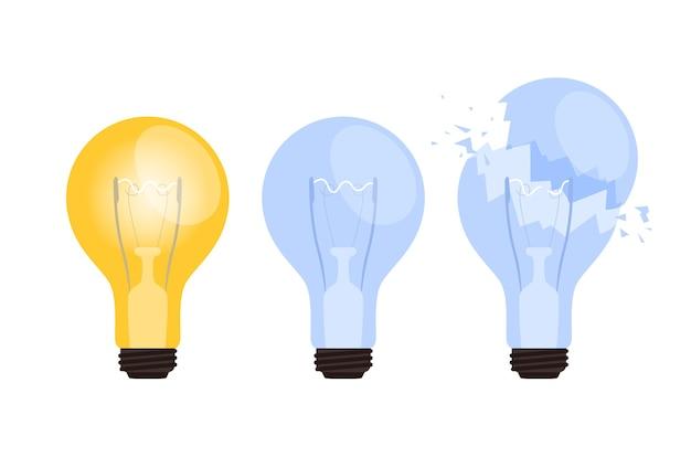 Набор горящих, потухших и сломанных лампочек. понятие о появлении или отсутствии бизнес-идеи. отдельный на белом фоне.