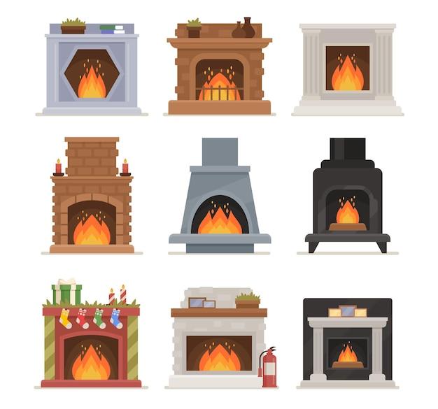 Набор дизайна горящего камина. система отопления помещений в современном и винтажном стиле. классические и современные печи с огнем