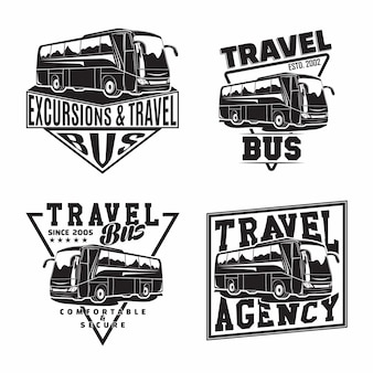 観光バスのエンブレムが付いたバス旅行会社エンブレムデザインのセット