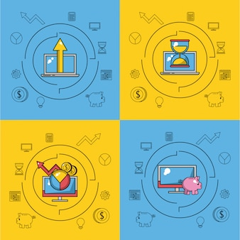 Set of business and technology icons