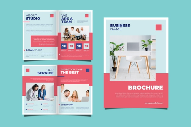 ビジネスパンフレットのコンセプトのセット