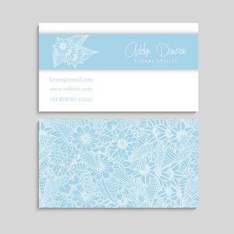 Zentangle手描きの花を持つ名刺のセット