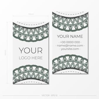 Набор визитных карточек. винтажный образец в современном стиле с заводами цикламена и цикадами.