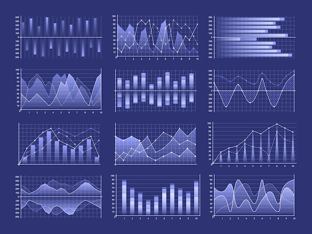 Набор бизнес-диаграмм и диаграммы, блок-схемы инфографики. рынок бизнес-данных.