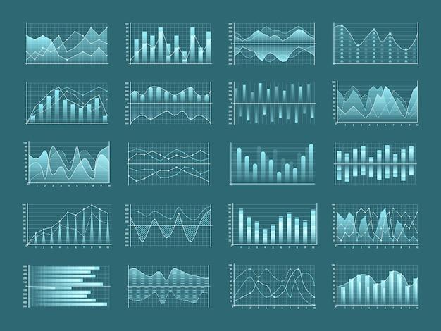 ビジネスチャートと図、インフォグラフィックテンプレートフローチャートのセット。