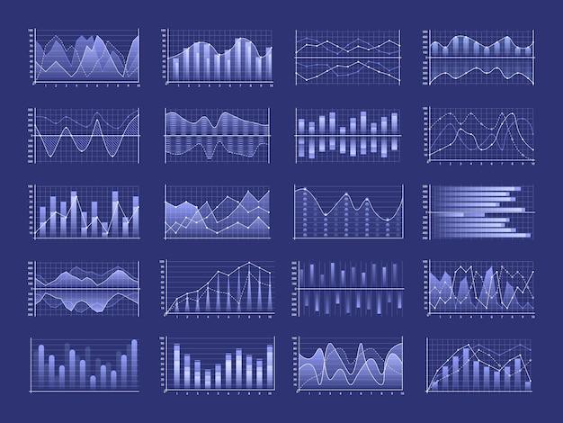 비즈니스 차트 및 다이어그램 Infographic 템플릿 집합 프리미엄 벡터