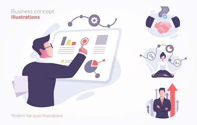 Набор бизнес-концепции иллюстрации. современная плоская иллюстрация стиля