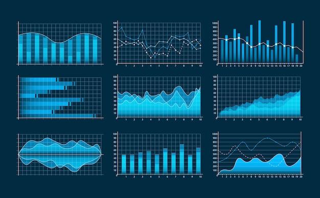 비즈니스 그래프의 집합입니다. 인포 그래픽 및 진단, 차트 및 구성표. 추세선, 열, 시장 경제 정보 배경. 금융 자산의 분석 및 관리.