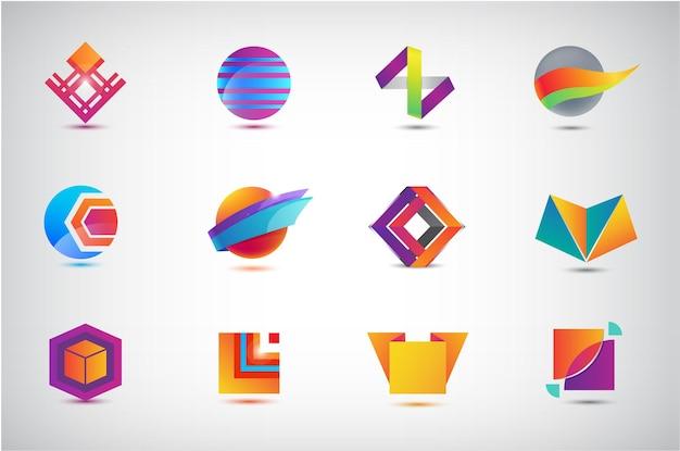 ビジネスアイコン、ロゴのセット。イラスト、グラフィックデザイン、フラットアイコンのコレクション、円、折り紙