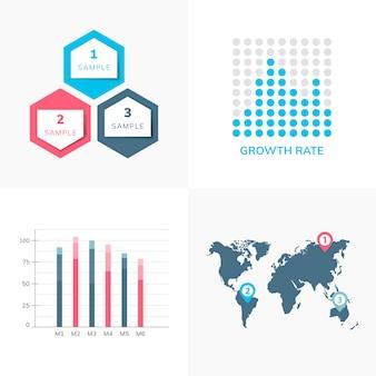 Set of business infograph vectors