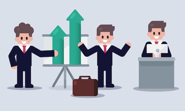마케팅 또는 사업 보고서와 비즈니스 남자 캐릭터의 집합입니다.