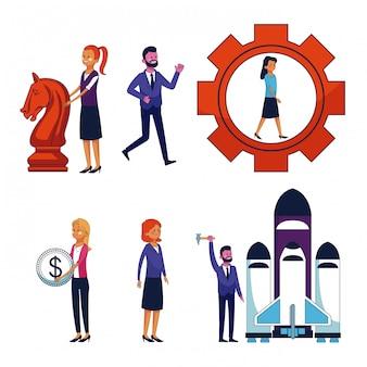 Набор деловых людей и значков офиса
