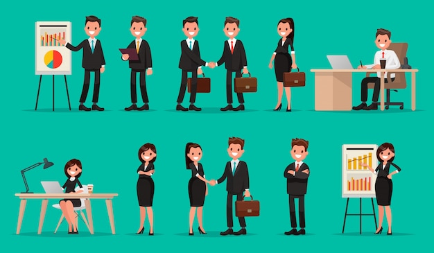 비즈니스 사람과 상황의 집합입니다. 프레젠테이션, 동의, 악수, 컴퓨터 작업.
