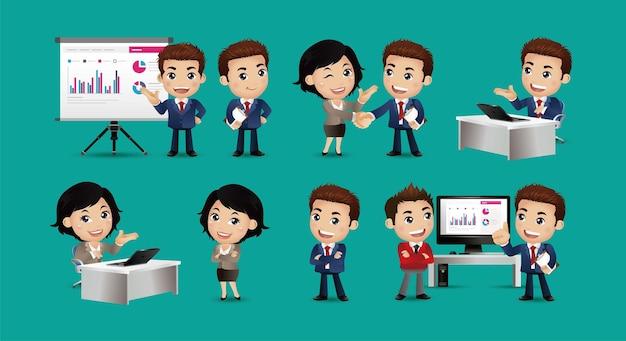 ビジネスマンと状況のセット。プレゼンテーション、合意、握手、コンピューターでの作業