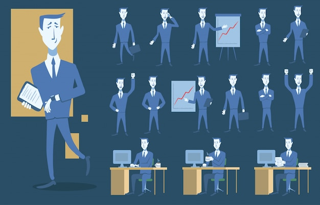 ビジネスの人々と状況のセット。プレゼンテーション、同意、コンピューターでの作業。スタイルのイラスト。オフィスと成功。