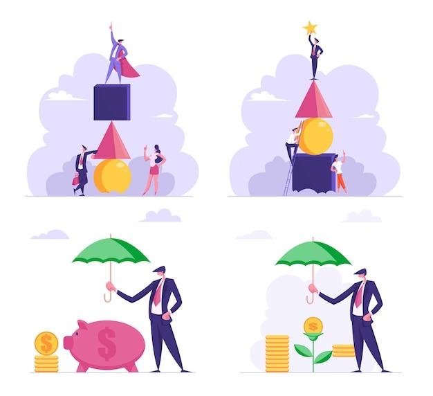 Набор деловых людей, строящих башню огромных геометрических фигур