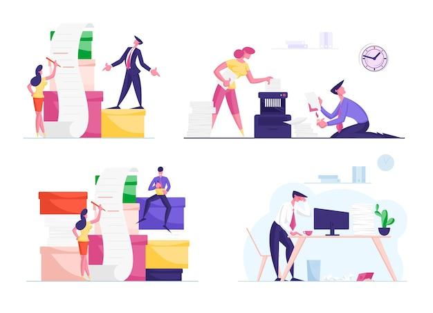 문서 및 종이 문서의 거대한 더미와 함께 작동하는 비즈니스 사람들 캐릭터 세트