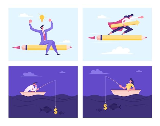 Набор деловых людей, летающих на огромном карандаше