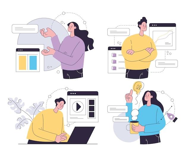 새로운 프로젝트에서 온라인으로 일하는 사업가 사무실 직원 세트