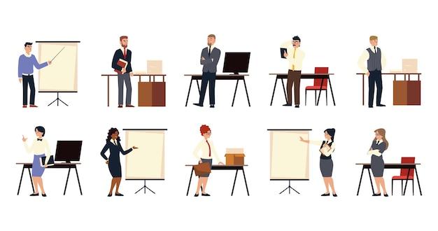 비즈니스 사람들이 프리젠 테이션, 계약, 회의 및 작업 세트