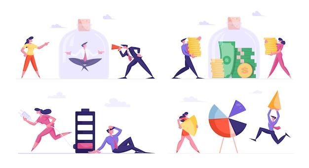 Набор деловых людей, экономящих деньги в стеклянной банке