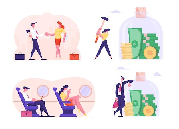Набор деловых людей, путешествующих на самолете