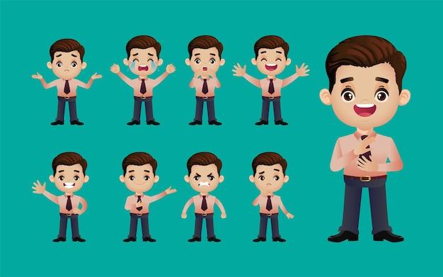 異なる感情を持つビジネスの人々のセット