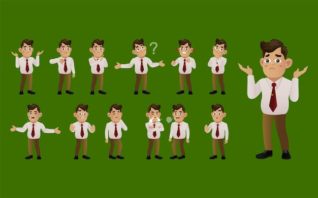 Набор деловых людей с разными эмоциями
