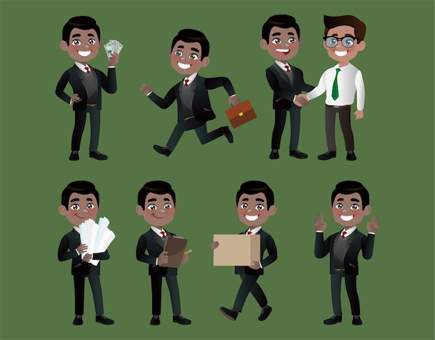 さまざまなポーズのビジネスマンのセット