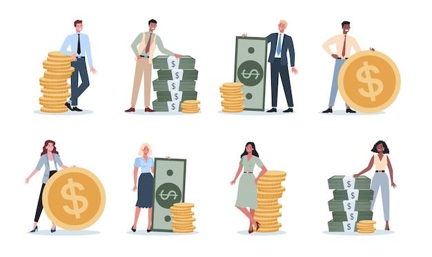 お金を持つビジネスの人々のセット。紙幣と現金でいっぱいの大きなバッグのそばに立って、コインの山で幸せな成功したキャラクター。経済的幸福。