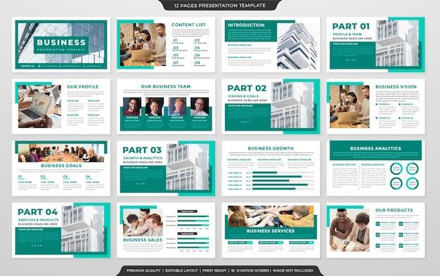 クリーンなスタイルとミニマリストの概念を持つビジネスプレゼンテーションレイアウトテンプレートデザインのセット