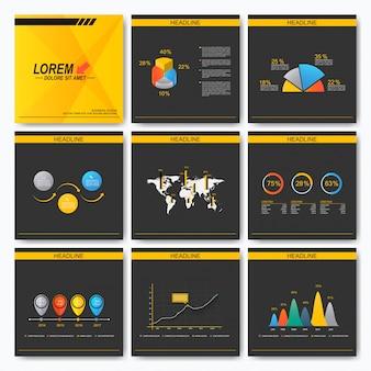 ビジネスプレゼンテーション正方形テンプレートパンフレットのセットです。カバーレイアウトデザイン。インフォグラフィックコンセプト。黒と黄色の背景