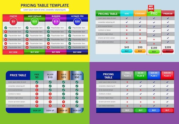 Набор бизнес-ценового плана или сравнительная таблица цен, или баннер концепции тарифного плана