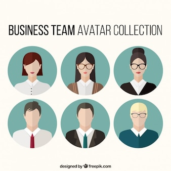 Set of business team avatars