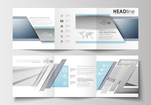 三つ折りパンフレットのビジネステンプレートのセット。スクエアデザイン