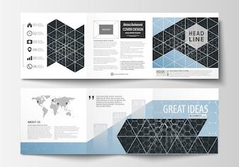 三つ折りパンフレットのビジネステンプレートのセット。