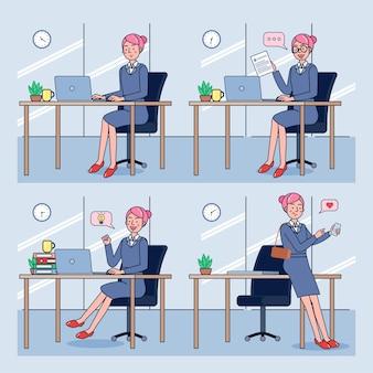 그녀의 사무실 책상에서 비즈니스 우먼의 설정