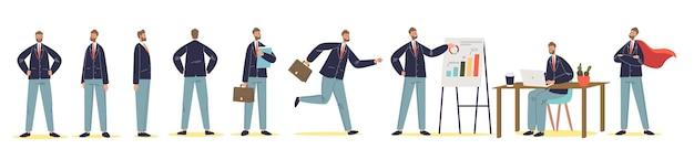 Набор мультипликационного персонажа бизнесмена в разных позах стоя, работая, представляя и бегая. успешный деловой человек, офис-менеджер или босс на белом фоне. плоские векторные иллюстрации